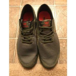 Supra Shoes - Supra Noiz Mono Olive Suede & Mesh Shoes